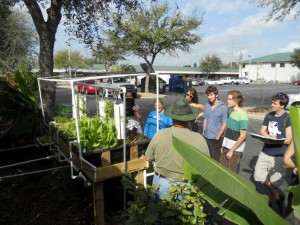 Sahib Aquaponics Zero Lot system being shown to first tour group